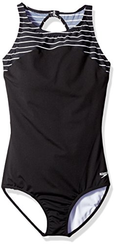 - Speedo Women's Endurance+ Stripe High Neck One Piece Swimsuit, Speedo Black, Size 14
