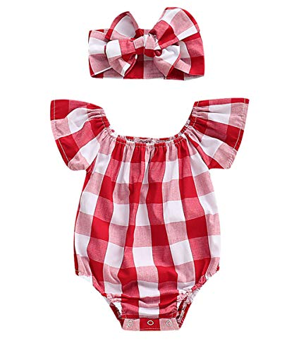 Newborn Kids Baby Girls Clothes Floral Jumpsuit Romper Playsuit + Headband Outfits (6-12 Months, Plaid)