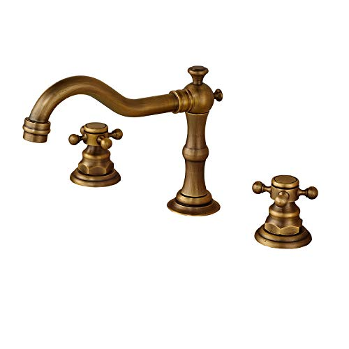 Rozin Antique Brass Widespread 3 Holes Bathroom Sink Faucet 2 Cross Knobs Lavatory Basin Mixer Tap ()