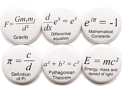 Math Formulas Arithmetic 6 Magnets 1 inch Pi Science Equation Theorem Formula Geek Stocking Stuffer Party Favor