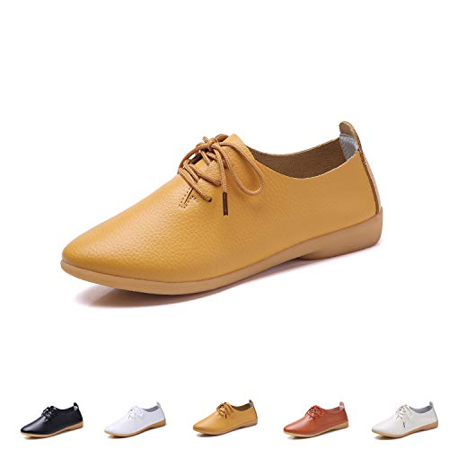 (YUHUAWYH Women's Leather Shoes Classic Lace Up Dress Low Flat Heel Oxford Comfort Casual Slip On Moccasin Driving Shoes Yellow)
