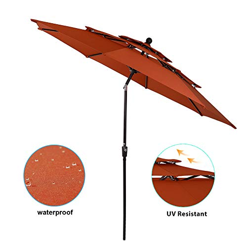 PHI VILLA 10ft Patio Umbrella Outdoor 3 Tier Vented Table Umbrella with 8 Sturdy Ribs (Orange Red)
