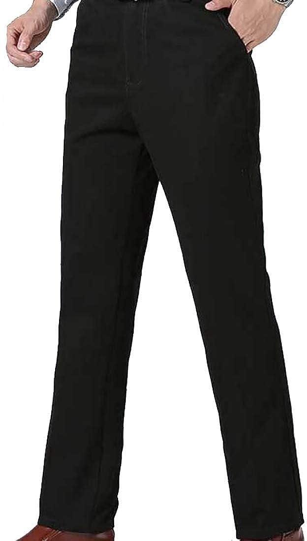Yayu Men/'s Thicken Elastic Waist Winter Fleece Lined Warm Long Trousers