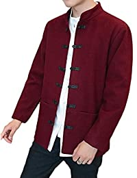 Comfy Mens Chinese style Mao Collar Wrap Trench Coat Woolen Jacket