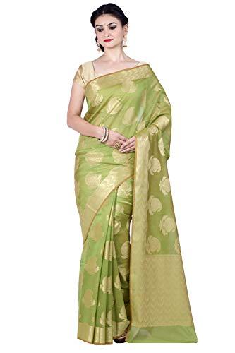 Chandrakala Women's Green Cotton Silk Blend Banarasi Saree,Free Size(1295GRE)