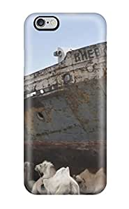 High Grade JakeNC Flexible Tpu Case For Iphone 6 Plus - Camels Stand Near The Wreckage Of A Ship