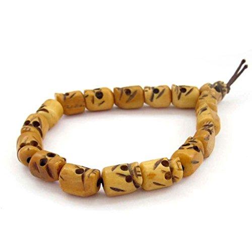 Bone Skull Bracelet (Ox Bone Carved Skull Beads Tibet Buddhist Prayer Bracelet Mala)