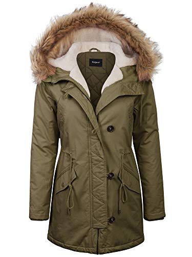 (KOGMO Womens Long Anorak Coat Fur Trim Hoodie Jacket with Fuax Fur Lined-1X-OLIVE)