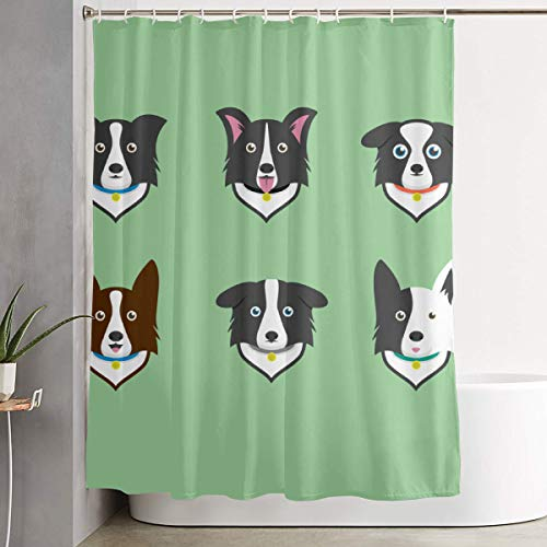 POLKJIH Creative Durable Waterproof Fabric Polyester Border Collie Shower Curtains Liner Print Decorative Bathroom Curtain with Hooks ()