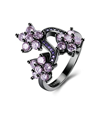 Trinity Knot Shank (Aooaz Womens Gold Plated Ring 3 Flower Purple Size 7 Eternity Promise Rings Wedding Bands)