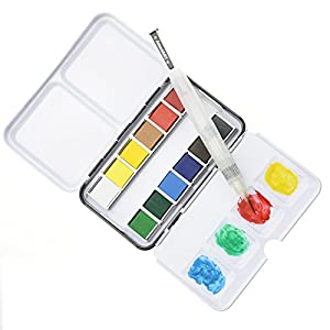 Watercolor Paint Set With 12 Half Pan Colors, Pocket Travel Box, Water Brush, Palette, For Art, Field Sketch, Journal, Coloring, Professional, Artist, Students, Beginners, Adults Watercolour Supplies