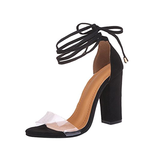 36' Air Bath - Summer Shoes,AIMTOPPY Fashion Ladies Thick suede straps Sandals Ankle High Heels Block Party Open Toe Shoes (US:9, Black)
