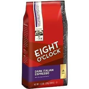 Eight O'Clock Dark Italian Espresso Ground Coffee, 11.5-Ounce Bags (Pack of 6)