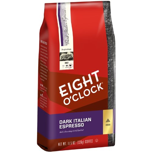 Eight O'Clock Ground Coffee, Dark Italian Expresso, 11.5 Ounce (Pack of 6)