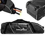 Athletico Rolling Baseball Bag – Wheeled Baseball Bat Bag for Baseball, TBall, Softball Equipment for Youth, Kids, and Adults (Black) For Sale
