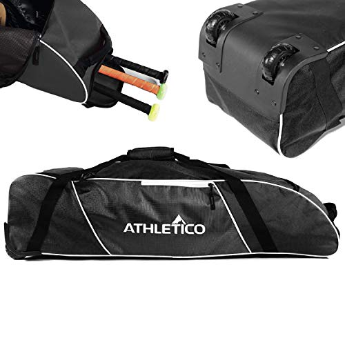 Athletico Rolling Baseball Bag - Wheeled Baseball Bat Bag for Baseball, TBall, Softball Equipment for Youth, Kids, and Adults (Black)