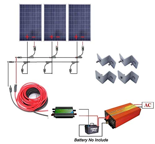 12 Volts 300 Watts Complete Solar Kit: 3pcs 100W Poly Solar Panel + 1KW Pure Sine Wave Inverter + 32Ft Solar Cable Adapter + 30A PWM Charge Controller + Y Branch MC4 Connectors + Z Brackets Review