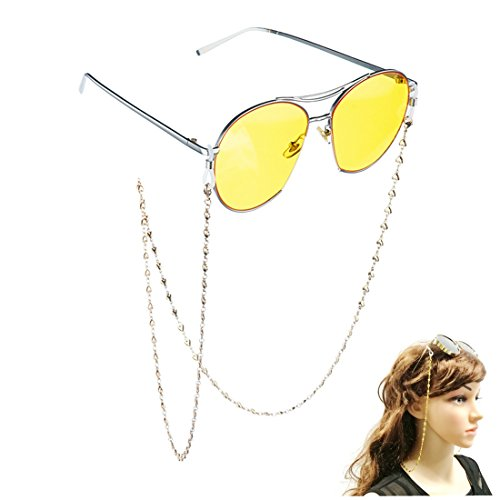 Kalevel 14K Gold Plated Eyeglass Chain Strap Eyeglass Chains and Cords for Women (Silver)