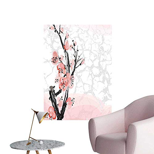 Wall Stickers for Living Room Cherry Blossom Sakura Tree Branch Soft Pastel Watercolor Print Coral Light Pink Grey Vinyl Wall Stickers Print,24