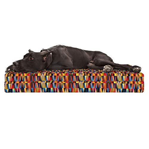 Lunarable Abstract Triangle Dog Bed, Funky Bohemian African Art Pastel Retro Mosaic Vibes Contemporary Motif, Durable Washable Mat with Decorative Fabric Cover, 48