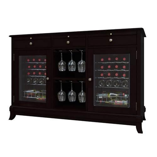 (Vinotemp VNTVT-CAVA2E Cava 36-Bottle Dual-Zone Thermoelectric Wine Credenza, Espresso)