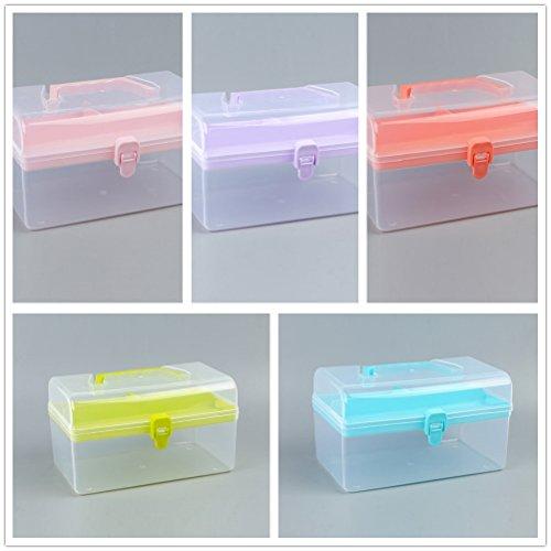 (beyonds Transparent Portable Toolbox Storage Box bin, Size 8.4 x 5 x 4.8 inch (Yellow))