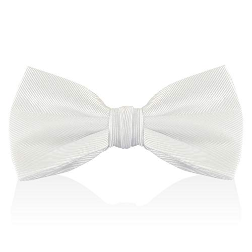 White Bow Ties For Men - Mens Woven Pre Tied Bowties For Men Bowtie Tuxedo Solid Color Formal Bow Tie -