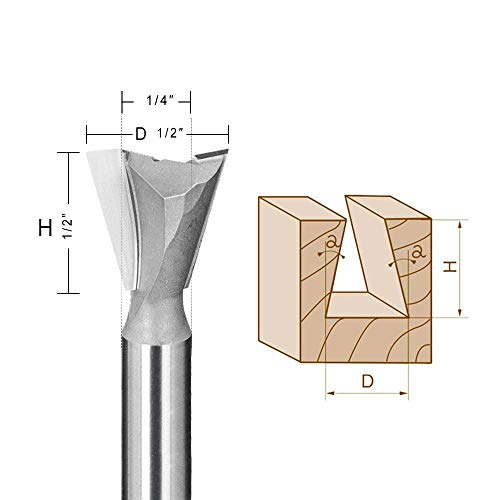 Dovetail Router Bit JESTUOUS 1/2 Inch Cutting Diameter 1/4 Shank Diameter 8 Degree Carbide-Tipped for Dovetail Jigs Fence Systems or CNC Automatic Routers