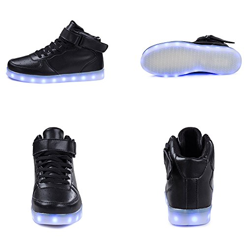 Saguaro High Top Led Light Up Shoes Sneakers Moda Ricarica Usb Per Ragazze (bimba, Bimba Piccola) 1-nero Top Alto