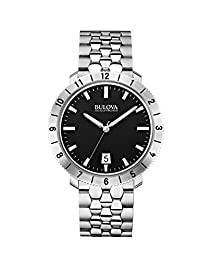 Bulova Accutron II Men's UHF Watch with Black Dial Analogue Display and Silver Stainless Steel Bracelet - 96B207