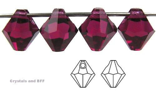 6mm Fuchsia, Czech Machine Cut Top Drilled Bicone Pendant (6301 Shape), 12 pieces