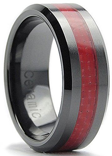 8MM Flat Top Men's Black Ceramic Ring Wedding Band With Red Carbon Fiber Inaly Size 5