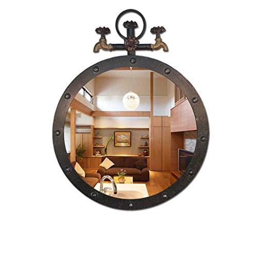 AJH Espejo de bano Redondo Retro, Espejo de Grifo Creativo, Espejo de Pared de Estilo Industrial de decoracion, Espejo de vanidad