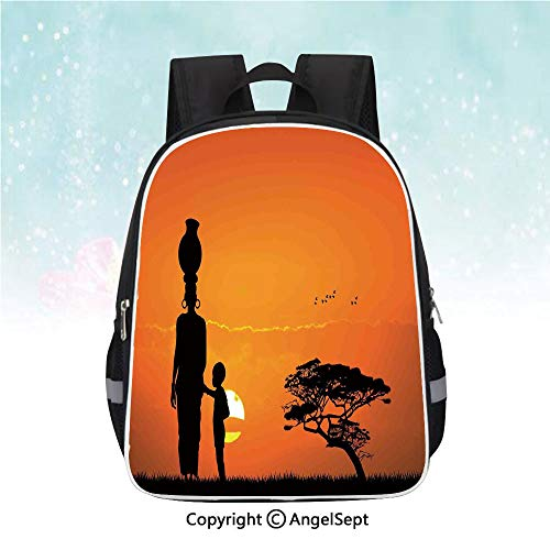 Casual Backpack,Child and Mother at Sunset Walking in Savannah Desert Dawn Kenya Nature Image,13