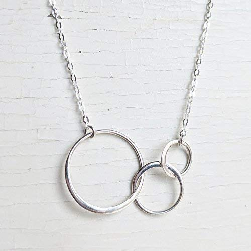 18 Inch Three Links Sterling Silver Necklace - Three Circles Necklace - Sterling Silver - Past, Present, Future - Dainty Silver Chain