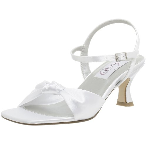 Dyeables Women's Lovely Dyeable Sandal,White,5 M (Dyeables Mid Heel Sandals)