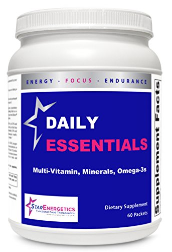 Daily Essentials – Multivitamin without Iron, Gluten Free, Chelated Minerals, Omega-3, Antioxidant Fruits & Vegetable Blend – 60 Packets, 3 products in 1 For Sale
