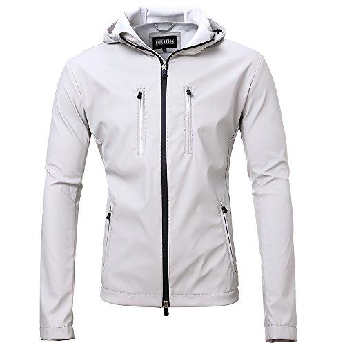 Mens Lightweight Short Waterproof Raincoat Outdoor Trench Coat Gray M