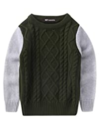 MFrannie Boys Cable Knit Spliced Contrasted Long Sleeve Warm Sweater