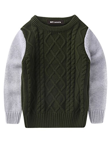MFrannie Boys Cable Knit Spliced Contrasted Long Sleeve Warm Sweater Army Green 4T