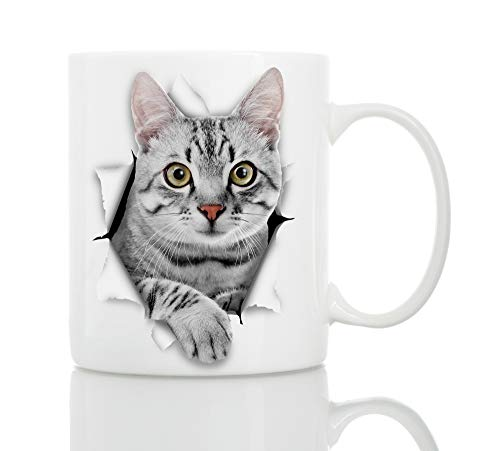 Cute Grey Kitty Cat Coffee Mug - Ceramic Funny Coffee Mug - Perfect Cat Lover Gift - Cute Novelty Coffee Mug Present - Great Birthday or Christmas Surprise for Friend or Coworker, Men and Women (11oz)