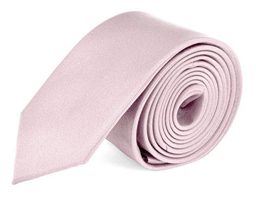 Ties For Mens Skinny Slim Silk Finish Fashion Long Necktie - Solid Color MDR - Light Pink