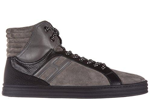 Hogan Rebel Uomo Scarpe Suede Scarpe Alte Sneakers R141 Cesto Grigio