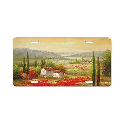 Zogpemsy Beautiful Tuscany Paintings Home,Bathroom and Bar Wall Decor Car Vehicle License Plate Metal Tin Sign Plaque