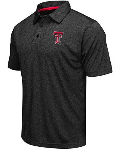 - Colosseum Men's NCAA Heathered Trend-Setter Golf/Polo Shirt-Texas Tech Red Raiders-Heathered Black-XXL
