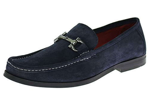 [Natazzi Mens Handmade Suede Leather Shoes Lucca Slip-On Loafer (42.5 M EU / 9.5 D(M) US, Navy)] (Italian Suede Penny Loafer)