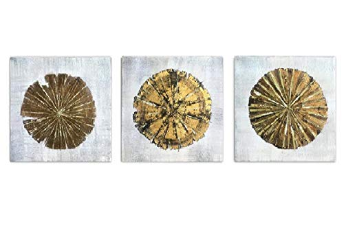 Abstract Metallic Gold-Champagne Handmade Oil Painting 3 Panels Circles Modern Wall Art (Gold A, Inner Framed)