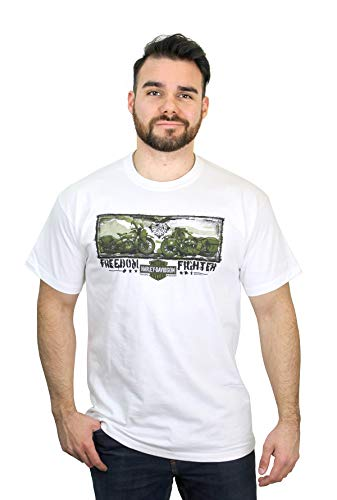 - Harley-Davidson Mens Freedom Fighter Motorcycles White Short Sleeve T-Shirt (Large)