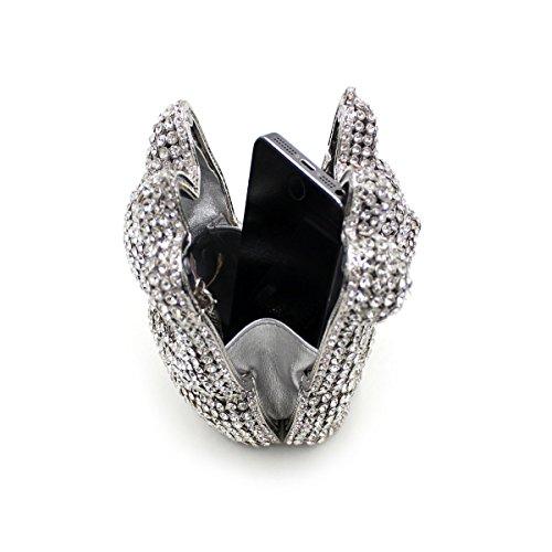 MOGOR, Poschette giorno donna argento Silver medium