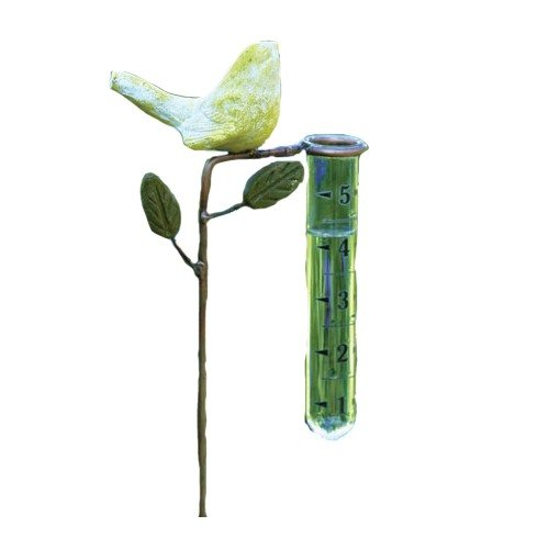 Ancient Graffiti AG-1167 Ceramic Bird Rain Gauge - Yellow